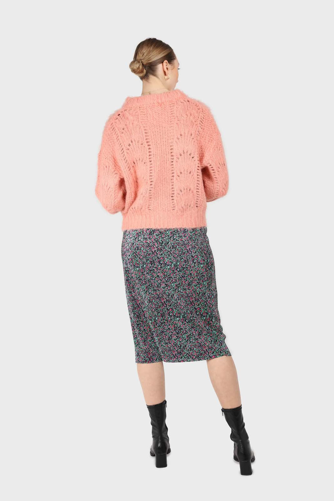 Pink lace knit fuzzy jumper6