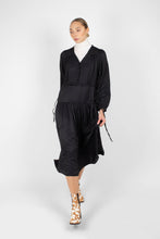 Load image into Gallery viewer, Black drawstring waist satin maxi dress8