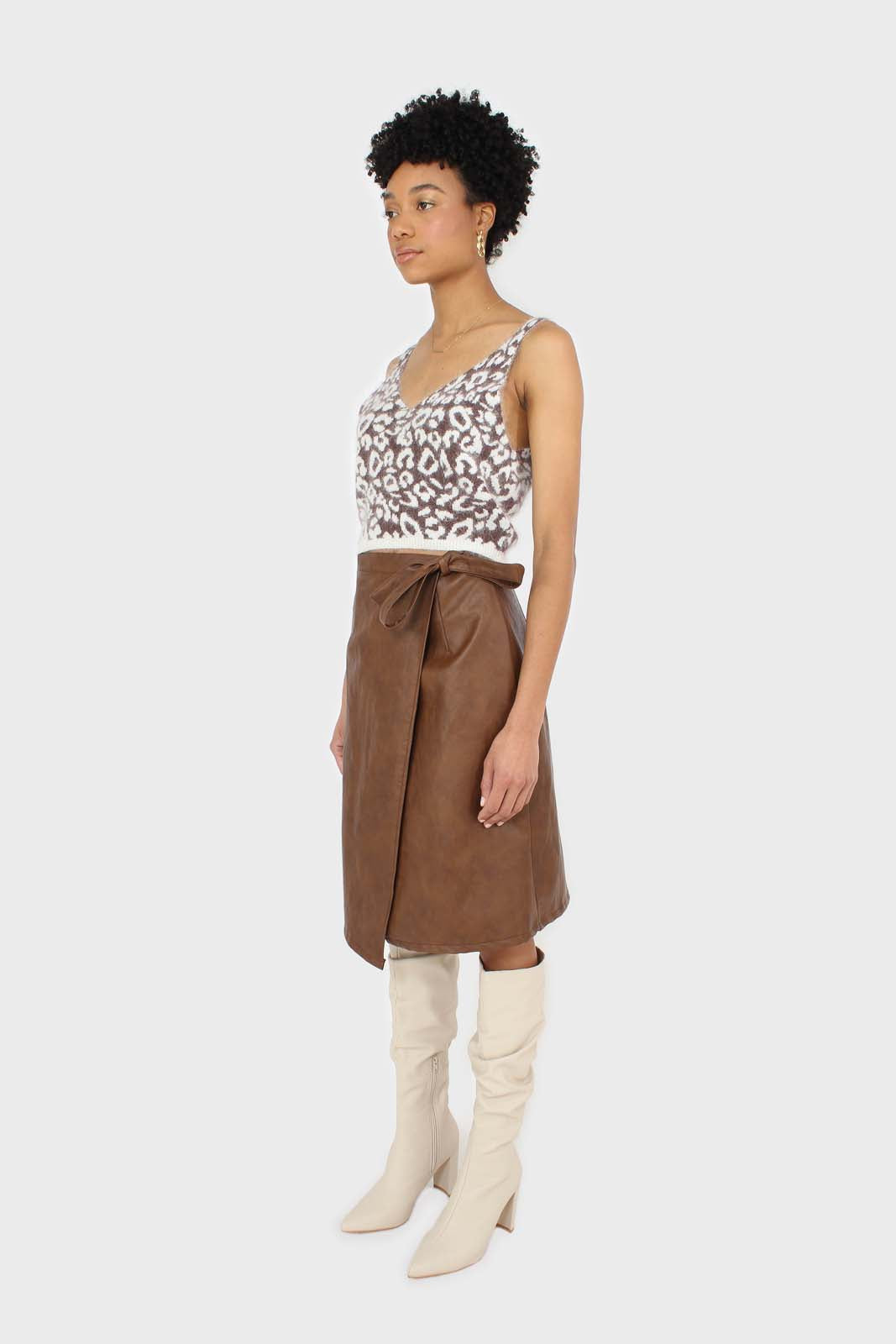 Brown vegan leather wrap midi skirt1sx