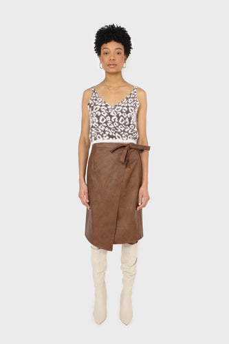 Brown vegan leather wrap midi skirt2
