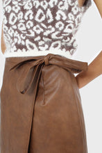 Load image into Gallery viewer, Brown vegan leather wrap midi skirt5