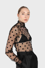 Load image into Gallery viewer, Black sheer polka dot long sleeved top2