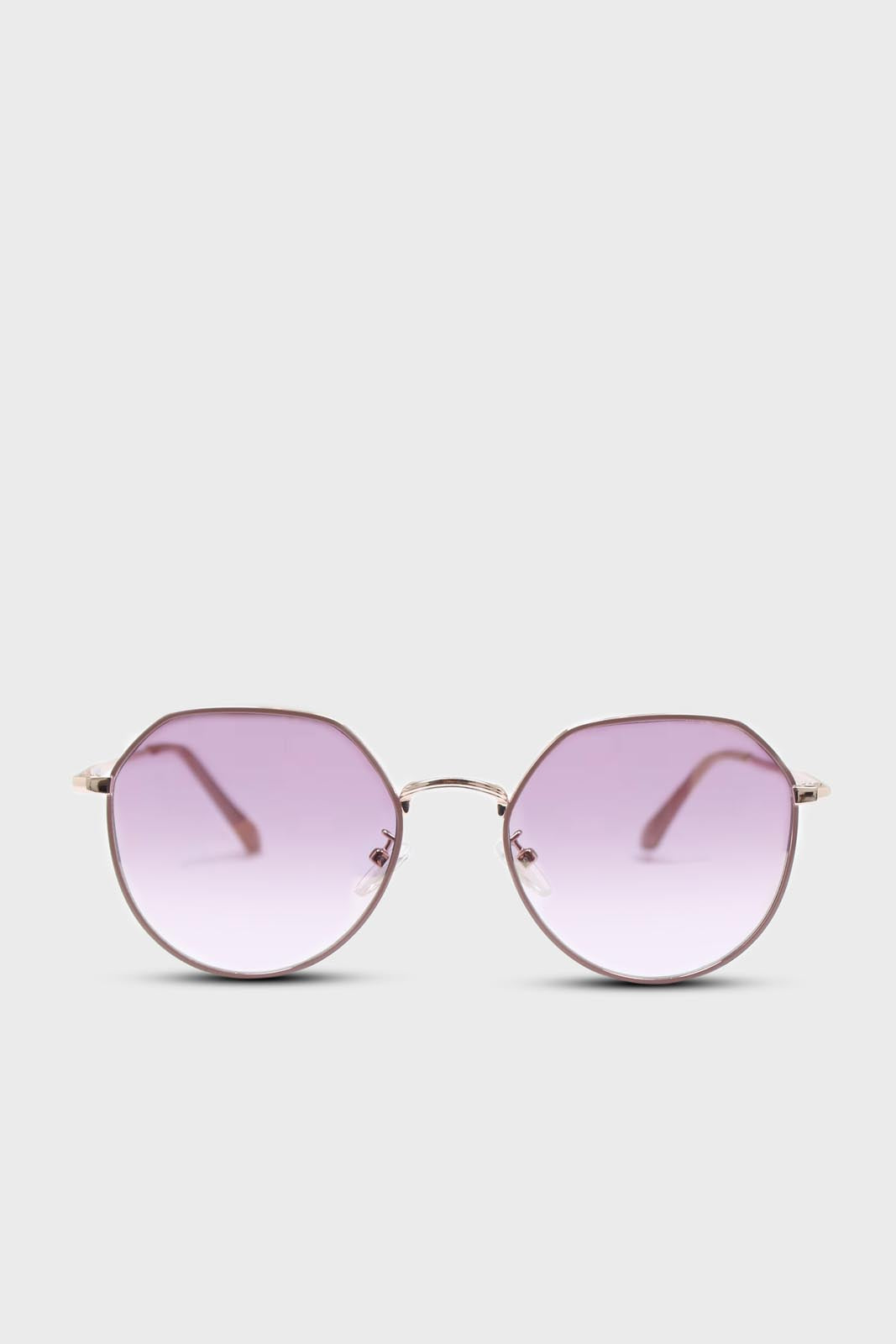 Pink trim dusty pink lens angled aviator sunglasses1