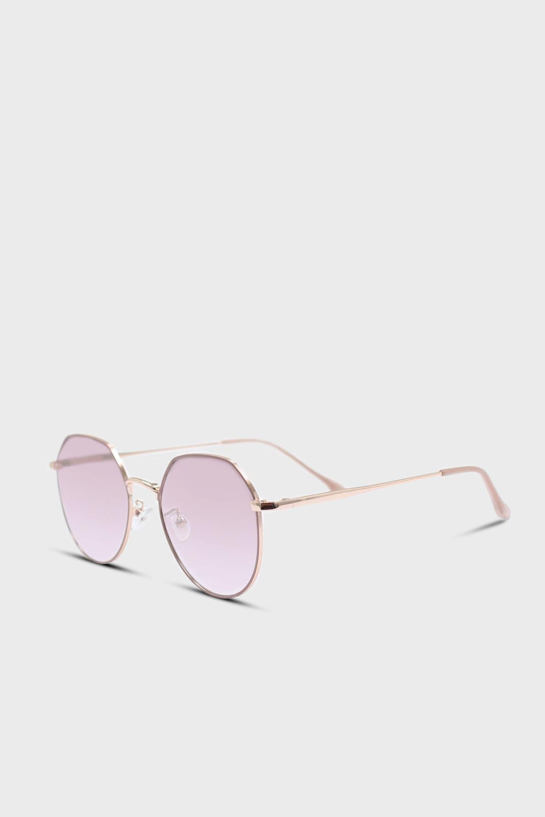 Pink trim dusty pink lens angled aviator sunglasses2