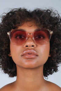 Pink perspex frame classic sunglasses_1