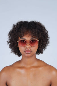 Pink perspex frame classic sunglasses_3