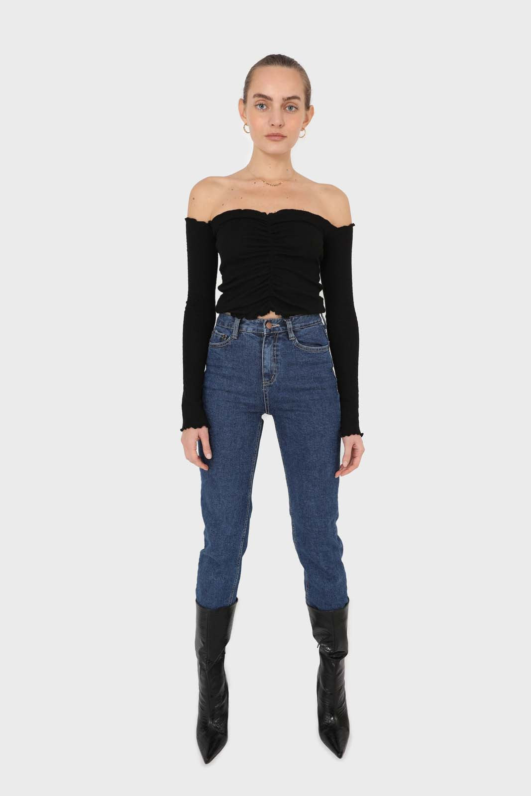 Black off shoulder ruched front ribbed top2