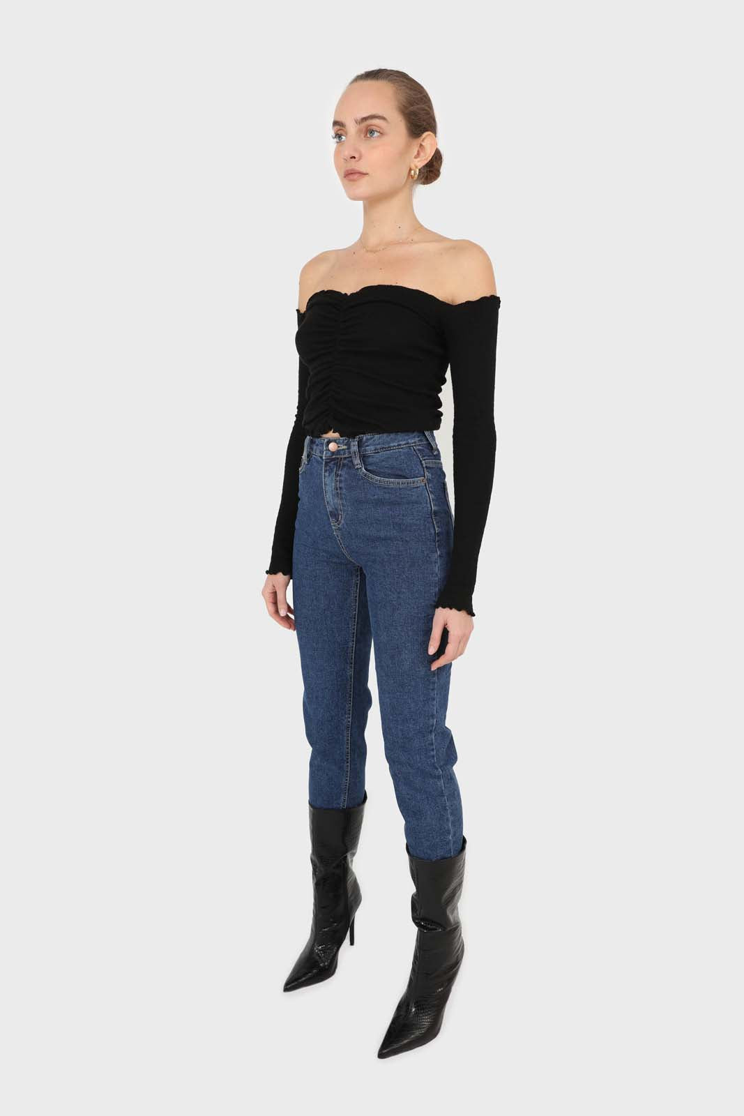 Black off shoulder ruched front ribbed top3
