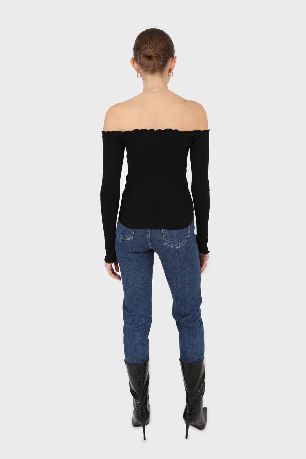 Black off shoulder ruched front ribbed top4