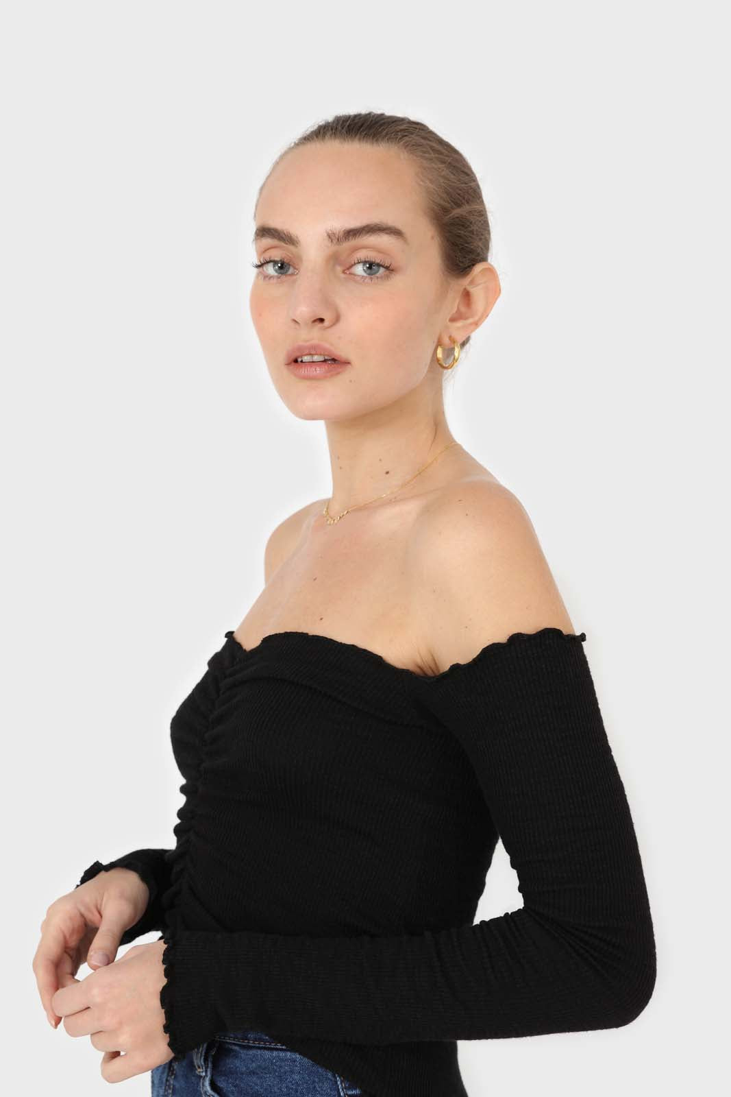 Black off shoulder ruched front ribbed top6