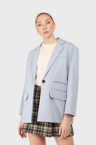 Powder blue contrast button oversized blazer2