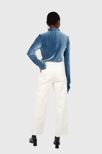 Mid blue micro ribbed silky top4