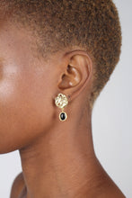 Load image into Gallery viewer, Gold and black hammered circle drop earrings3