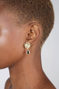 Gold and black hammered circle drop earrings3