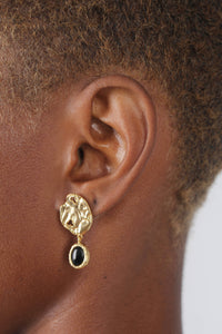 Gold and black hammered circle drop earrings4