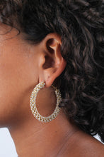 Load image into Gallery viewer, Gold diamante large hoop earrings_MDEBA1