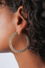Load image into Gallery viewer, Gold diamante large hoop earrings_MDEBA2
