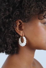 Load image into Gallery viewer, Ivory rope twist hoop earrings_MDEBA1