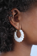 Load image into Gallery viewer, Ivory rope twist hoop earrings_MDEBA2