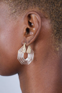 Clear ridged thick hexagon hoop earrings_3