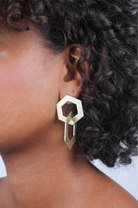 Gold linking hexagon earrings
