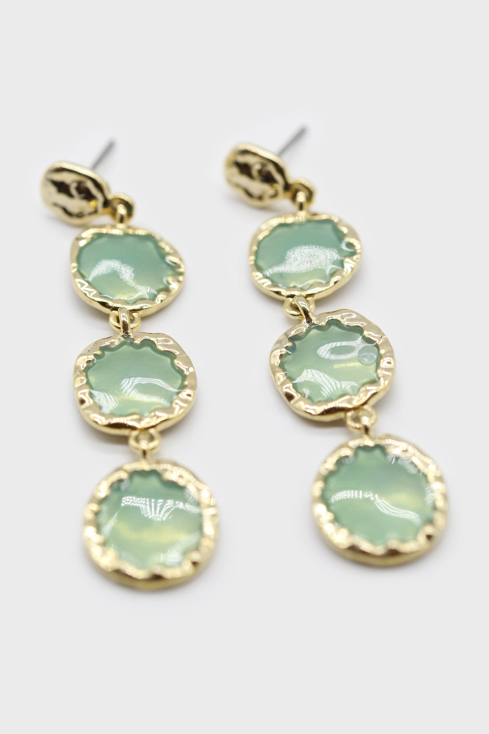 Green falling glass circle gem earrings