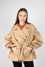 Load image into Gallery viewer, Beige double breasted half length trench coat1