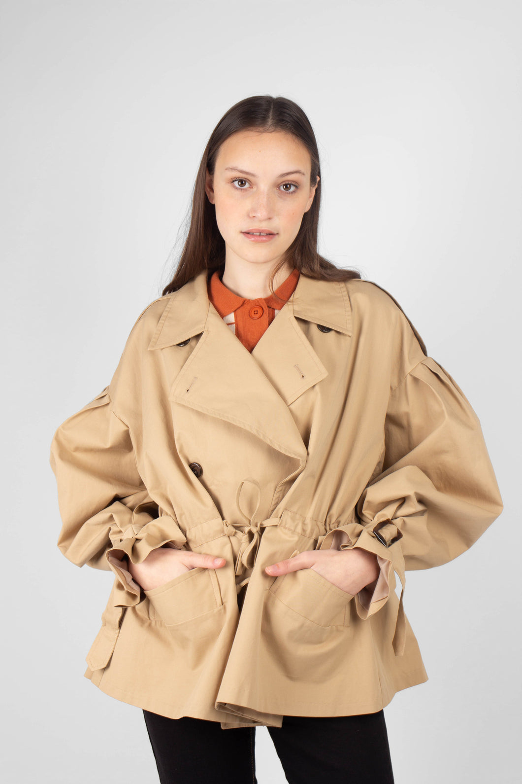 Beige double breasted half length trench coat1