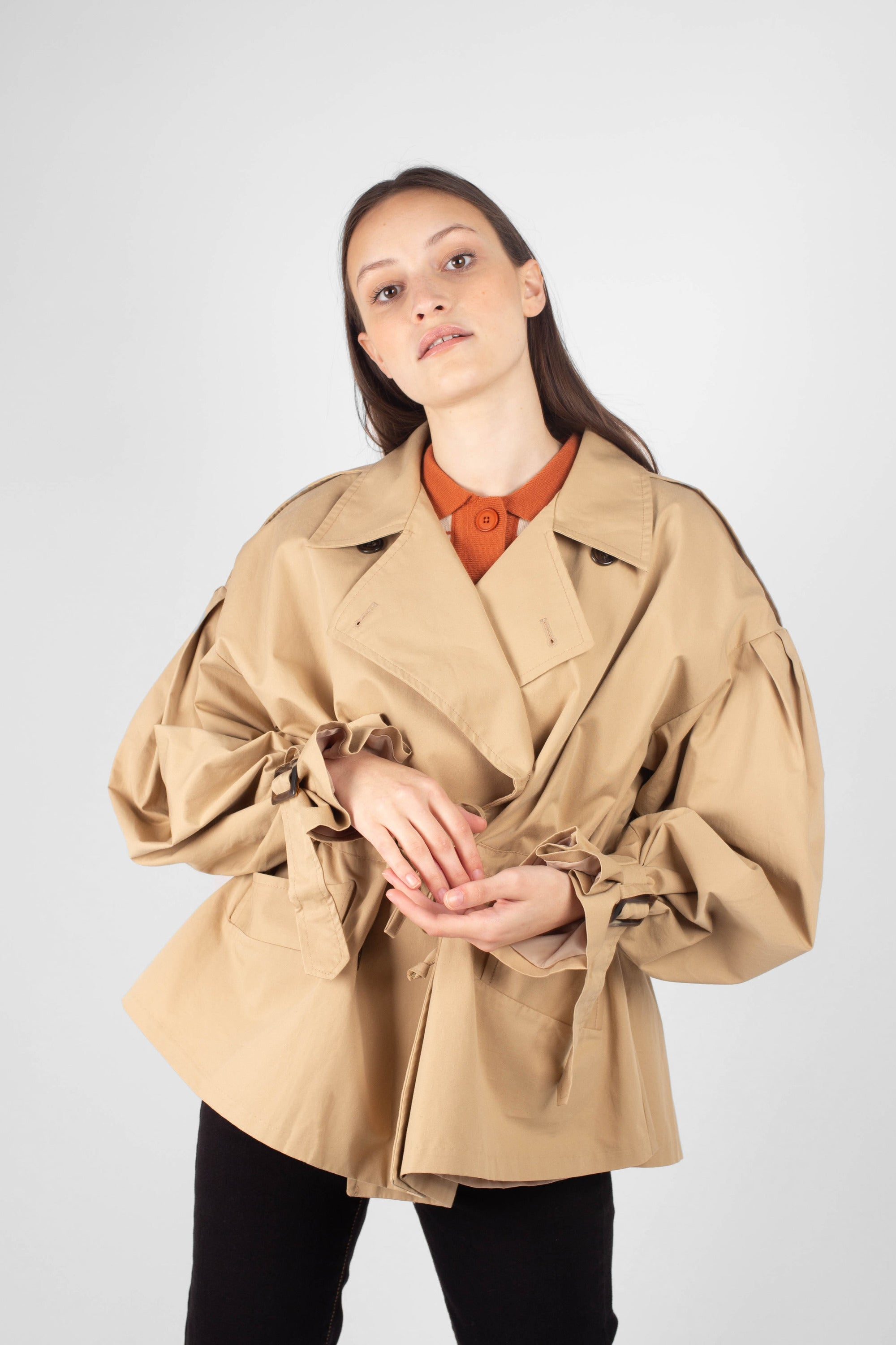 Beige double breasted half length trench coat2