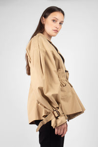 Beige double breasted half length trench coat3