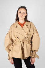 Load image into Gallery viewer, Beige double breasted half length trench coat5