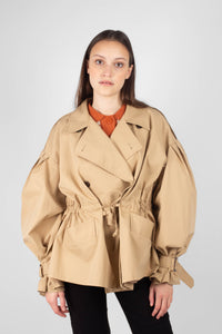Beige double breasted half length trench coat5