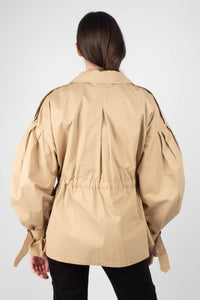Beige double breasted half length trench coat6