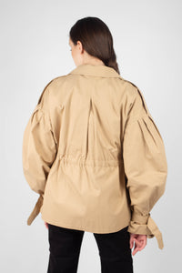 Beige double breasted half length trench coat7