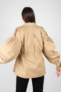 Beige double breasted half length trench coat8