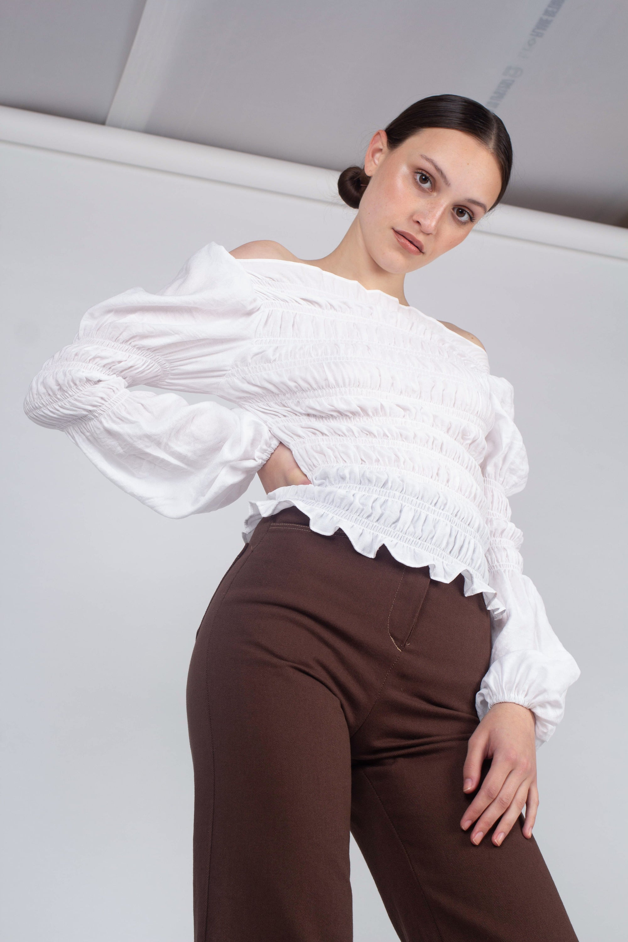 23143_Ivory ruched bodice peasant blouse_MCFBA4