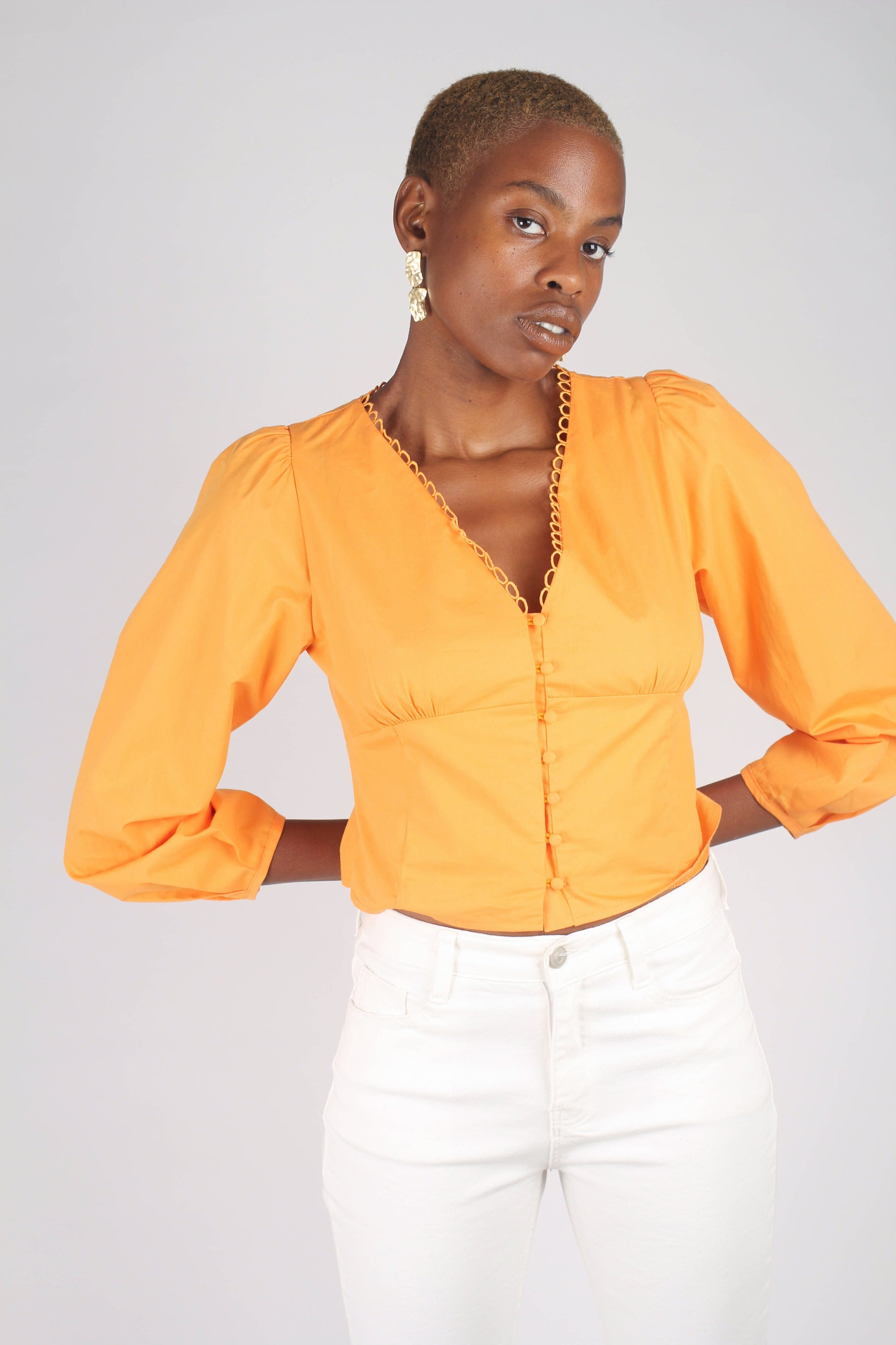 Orange button front crochet trim wide hem top_2
