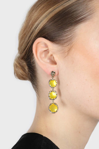 Yellow falling glass circle gem earrings3