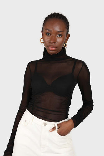 Black sheer shirring sides turtleneck top2