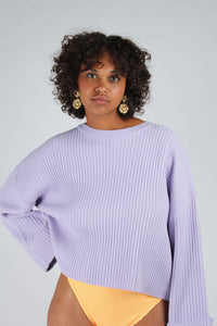 Lilac ribbed long sleeved jumper_MCFBA1