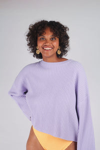 Lilac ribbed long sleeved jumper_MCFBA2