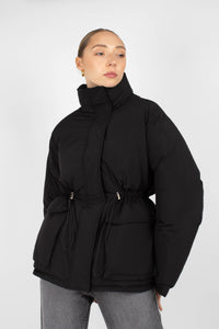 Black patch pocket puffer jacket6