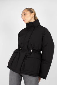 Black patch pocket puffer jacket7