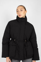 Load image into Gallery viewer, Black patch pocket puffer jacket1sx