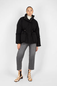 Black patch pocket puffer jacket5