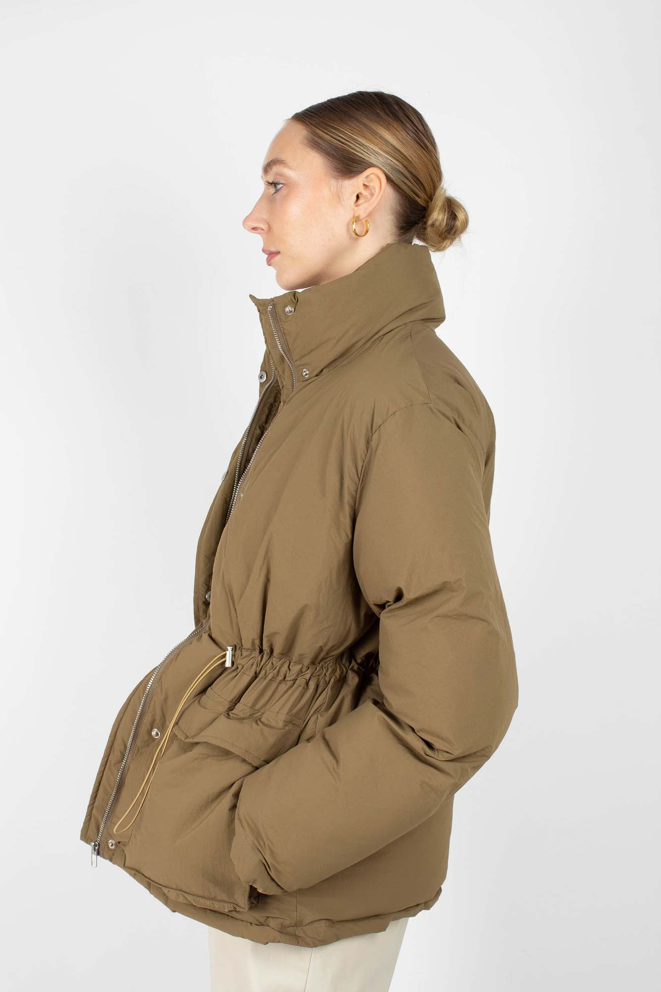 Khaki patch pocket puffer jacket2