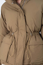 Load image into Gallery viewer, Khaki patch pocket puffer jacket3