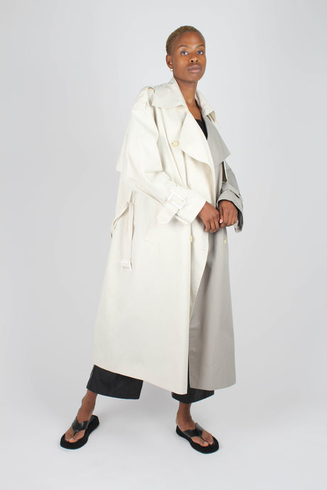 Ivory and grey contrast double breasted trench coat1