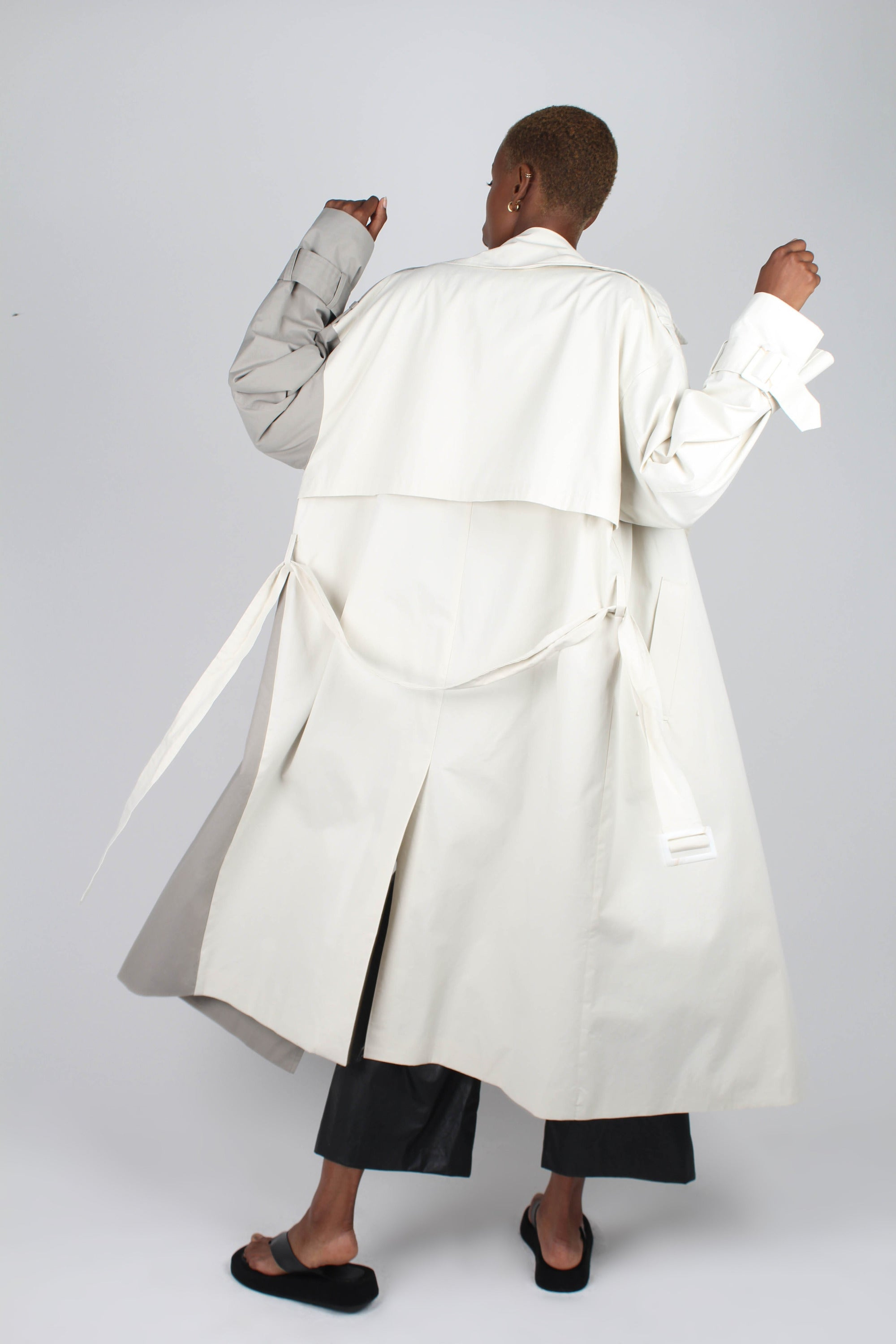 Ivory and grey contrast double breasted trench coat2