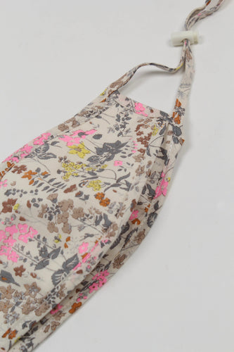 White floral print cotton face mask_PSDBA1